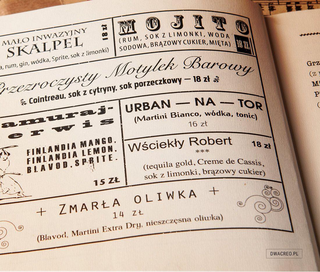 Autorskie menu dla kawiarni teatralnej Pod Sceną, inspirowane reklamą Śląska Cieszyńskiego.