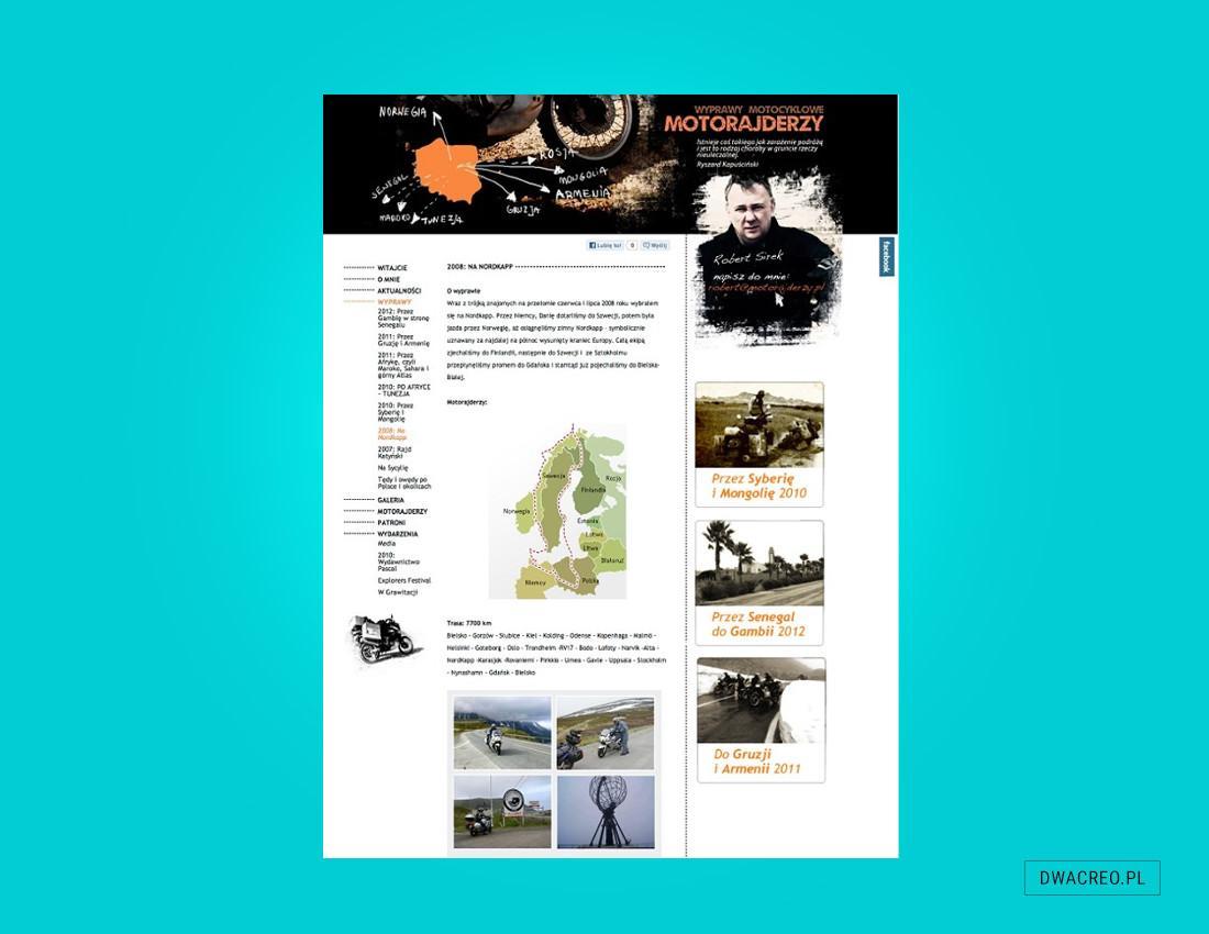strony internetowe, podróże, www, motorajderzy, blogi, projekt graficzny, szablon, teksty, zdjęcia