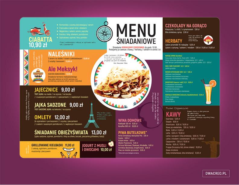 menu, autorskie, unikalne, restauracja, bistro, naleśnikarnia, gastronomia, karty alkoholi, projektowane