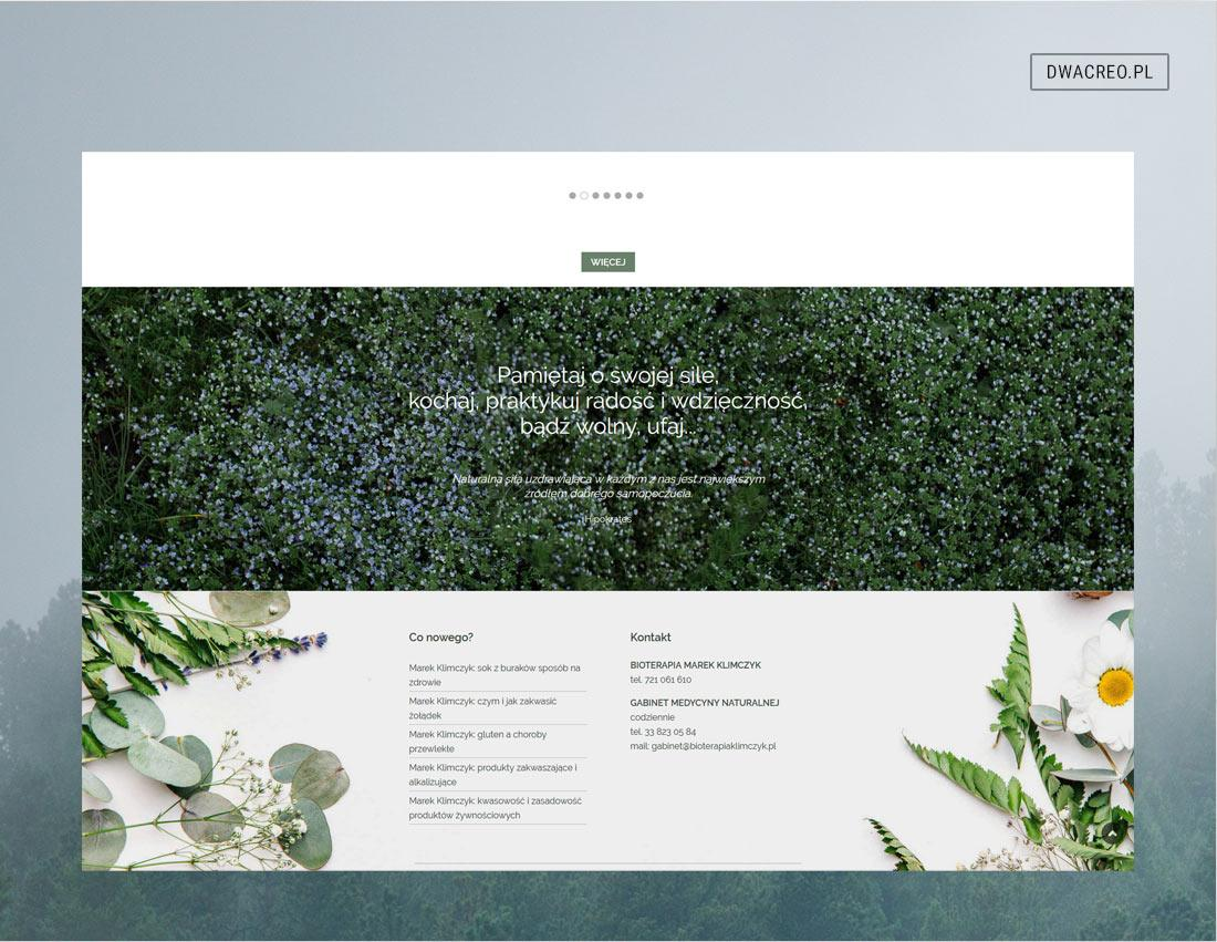 Bioenergoterapia. Strona firmowa gabinetu terapii naturalnych. Copywriting